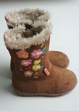 M&S WALKMATES Girls Fur Lined Brown Suede Boots with Zip & Flower Motif Uk Sz 5
