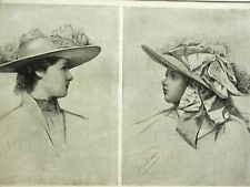 VICTORIAN FEATHERED HATS FOR GIRLS 1891 Fashion Print Engraving Matted