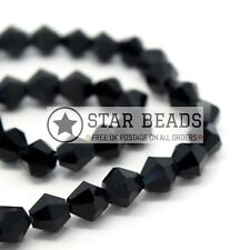 115 X Faceted Bicone Crystal Glass Beads 4x3mm - Pick Colour Jet