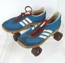 Vtg Blue Tennis Shoe Roller Skates Youth Sz 5 w/ 3 White Stripes Red Line/Laces
