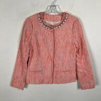 NYDJ Tangelo Coral Blazer Jacket Jeweled Rhinestone Neckline Size XXS Womens