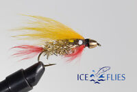 ICE FLIES. Streamer fly, Golden Ghost  Cone head.Size 2, - 10 (3-pack)