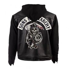 Soa Sons Of Anarchy à Capuche Véritable Cuir Veste