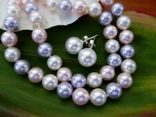 CRYSTAL PEARL  8MM  White, Pink, Purple Necklace & 10MM Stud Earrings 959 SS