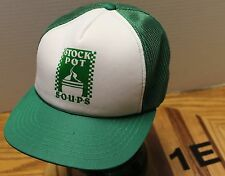 VINTAGE STOCK POT SOUPS TRUCKERS STYLE SNAPBACK MESH BACK HAT GREEN/WHITE VGC