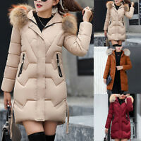 Manteau à capuche Femmes Slim Outwear Col de fourrure Veste Parka Doudoune duvet