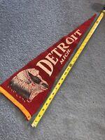 Vintage Detroit Michigan Pennant Felt Banner Souvenir