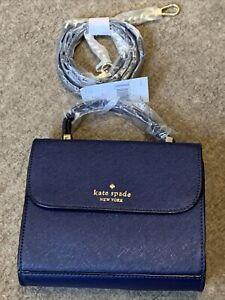 BNWT Genuine Kate Spade New York Navy Blue Leather Small Crossbody Evening Bag