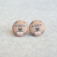 Beaver Fabric Button Earrings