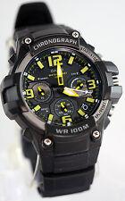 Casio MCW100H-9A Mens Analog Heavy Duty Watch Chronograph Black Yellow 100M WR