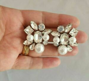 Square Faux Pearl & crystal Stud Earrings Cluster -  Kate Crew DECO Gatsby