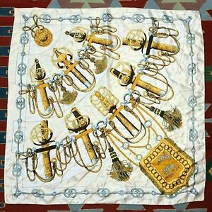 "Vintage Cliquetis Scarf Square White Gold Baroque Sword Pattern 35"""