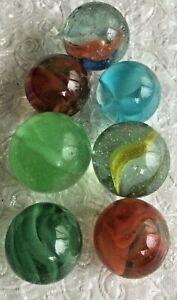 Vintage Green Red Cat Eye Swirl Peltier Boulders Marbles Lot of 7