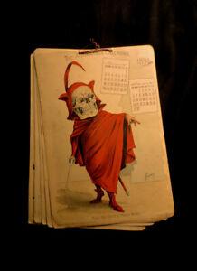 Original Antique Antikamnia Calendar 1898 Skeleton Skull Complete Same as 2022