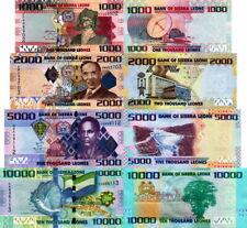SIERRA LEONE - Lotto 4 banconote 1000,2000,5000,10.000 Leones FDS UNC
