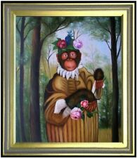 Framed, Quality Hand Painted Oil Painting Monkey Holding Flowers 20x24in