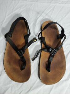 LUNA Sandals men's Size 10.5 Brown Leather With black Straps