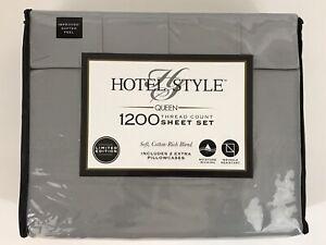 Hotel Style Queen 1200 Thread Count Cotton Rich 6 Piece Sheet Set Soft Silver