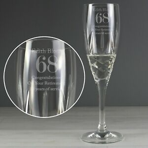 Personalised Big Age Crystal Champagne Flute Glass Birthday Anniversary Gift