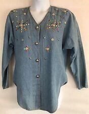 Bingo Bingo Womens Petite Size 12P Cotton Embellished Denim/Jean Shirt Top