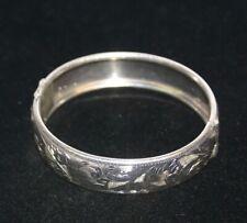 Vintage 835 Portugal Silver Hinged Bangle Bracelet w/ an Etched Design_Signed