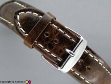Leather watch strap ODEON Dark Brown/White 18mm