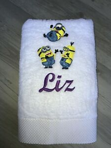 Personalised Towel Gift for Mum White Towel Minion