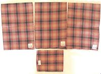 Park Designs SPICED APPLE Plaid 3 Dish Towels 1 Dish Cloth Red Green Tan New