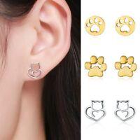 Fashion Women Pet Cat Dog Paw Print Ear Stud Pierced Earrings Jewellery Gifts