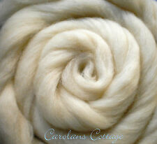 Spinning Wool Roving Fiber USA NATURAL WOOL 5 Feet Creamy White Felting Dyeing