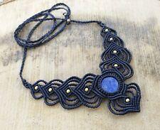 Macrame Necklace Pendant Jewelry lapis lazuli Cabochon Stone Handmade Bohemian