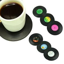 6PCS Vinyl Coaster Groovy Record Cup Drinks Holder Mat Tableware Placemat D4 CA