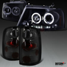 Glossy Black 2004-2008 Ford F150 Halo LED Projector Headlights+Tail Lights Smoke