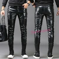 Hot Fashion Biker Men's Faux Leather Soft Casual Trousers Slim Skinny Punk Pants