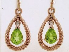 E032- Genuine 9ct Solid Rose GOLD NATURAL Peridot & Diamond Drop EARRINGS