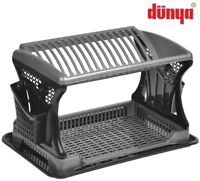 Black Dish Drainer Two Tier 2 Cutlery Plates Bowls Holder Kitchen Rack Plastic