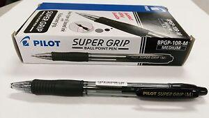 12 x Pilot Super Grip BPGP-10R Medium Pens BLACK