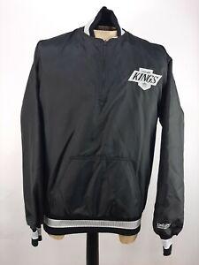 Vintage DeLong Los Angeles LA Kings Jacket 1/4 Zip Pullover Coat Black Mens M