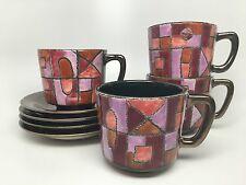 Vintage EDUARDO VEGA Mosaic Set of 4 Cups & Saucers Ecuador - Mid Century Modern