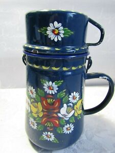 Vintage Handpainted Bargeware Billy Can & Cup With Signs of Use and Ware.