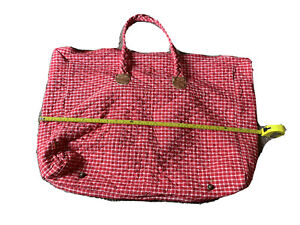 OILILY Red gingham plaid Purse Shoulder Bag Shopper Tote vintage from 90s