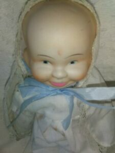 Vintage Three Face Porcelain Doll with Swivel Head and Clothes Creepy/Weird  17