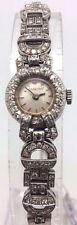 MONTRE FEMME ANCIENNE ART DECO VERS 1930 EN OR blanc  diamants   *