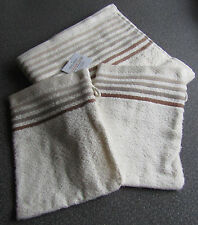 3 teilig Handtuch & 2x Waschhandschuh Waschlappen beige  NEU OVP