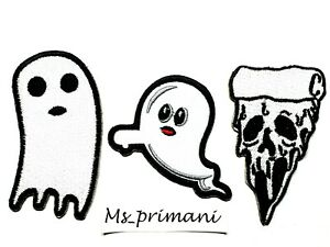 GHOST PATCH EMBROIDERED IRON SEW ON CLOTH HALLOWEEN JACKET BADGE VARIOUS DESIGN