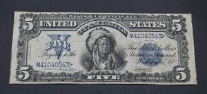 1899 UNITED STATES $5 INDIAN CHIEF LARGE SILVER CERTIFICATE NO RESERVE CC439-4