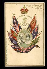 Royalty KEVII Flags Coronation Souvenir Tuck Coronation Series 1 #608 u/b PPC