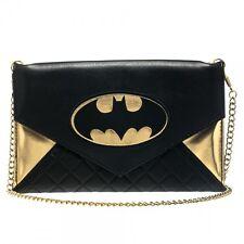 """Batman Logo Black/Gold Woman Envelope Cross Body Wallet Bag 48"""" Chain"""