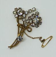Sparkly Vintage Brooch Gold Tone Floral Spray Set With Diamante Crystals Pretty