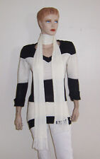 PRETTY RED PAINT BLACK WHITE COLOR BLOCK LONG SWEATER WITH SCARF L